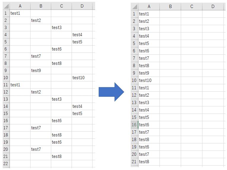Excel で空白セルだけを削除して左詰め 上詰めする簡単な方法